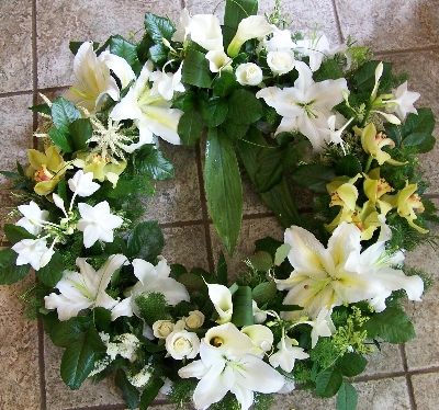 Lily and Orchid and wreath.